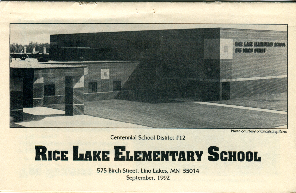 cover of Rice Lake Elementary dedication booklet