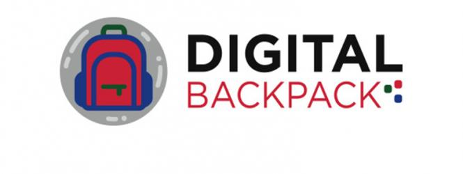 Digital backpack logo--graphic image of a backpack