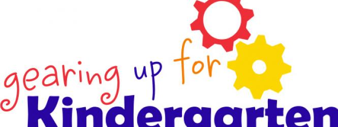 """Logo for Gearing Up for Kindergarten"""" with text and gears"""