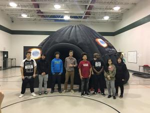 pines school students standing outside the ExploraDome