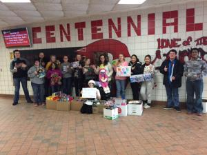 Centennial High School students and the toys collected.