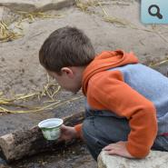 Child looking at logs