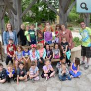 A group photo of students at the nature center