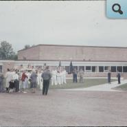 early band in front of first building on Centennial Campus